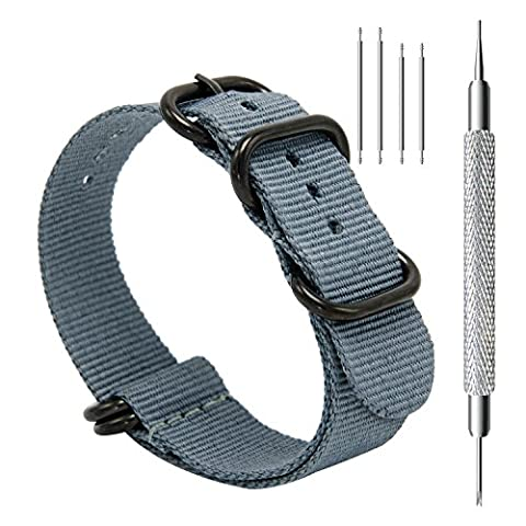 CIVO CHARLOTTE031 Heavy Duty G10 Zulu Military Watch Bands NATO Premium Ballistic Nylon Strap 5 Black Rings with Stainless Steel Buckle 20mm / 22mm / 24mm, Smoke (Watch Strap Ring)