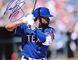 DELINO DESHIELDS W/BAT TEXAS RANGERS SIGNED 8X10 PHOTO W/COA