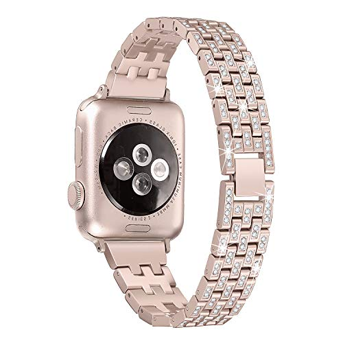 Color Metal Band - Secbolt Bling Metal Bands Compatible Apple Watch Band 38mm 40mm iWatch Series 4/3/2/1, Dressy Diamond Bracelet Wristband Women, 4 Colors Available, Champagne Gold