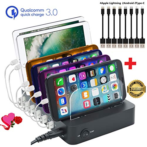GiGAWOOD Charging Station for Multiple Devices with Bonus 8 USB Cable, LED Desktop Organizer, 6-Port 60W 12A Certified Quick 3.0 Charger Dock for iPhone iPad Cell Phones Tablets Electronics, Black ()