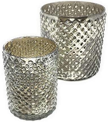 Serene Spaces Living Antique Silver Hobnail Vase – Beautiful Mercury Glass in a Vase, Use for Weddings, Parties, Events, Home Decor, Set of Small Medium