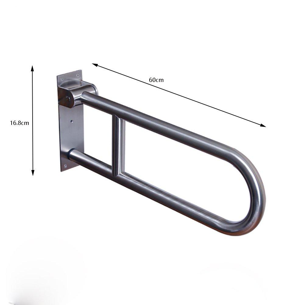 手すりステンレススチールバスルームアームレストスキッド抵抗ハンドレール折り畳み上向きシルバー B07CNT3Y33