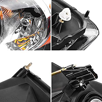 AUTOSAVER88 Headlight Assembly Compatible with 2006-2008 Dodge Ram 1500/2006-2009 Dodge Ram 2500 3500 Replacement Headlamp Driving Light Chromed Housing Amber Reflector: Automotive