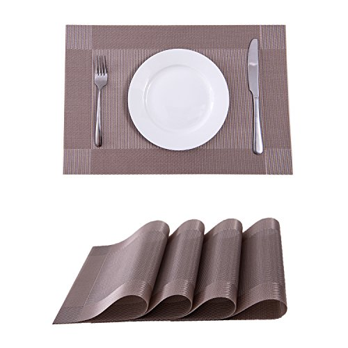Set of 4 Placemats,Placemats for Dining Table,Heat-resistant Placemats, Stain Resistant Washable PVC Table Mats,Kitchen Table mats(Coffee)