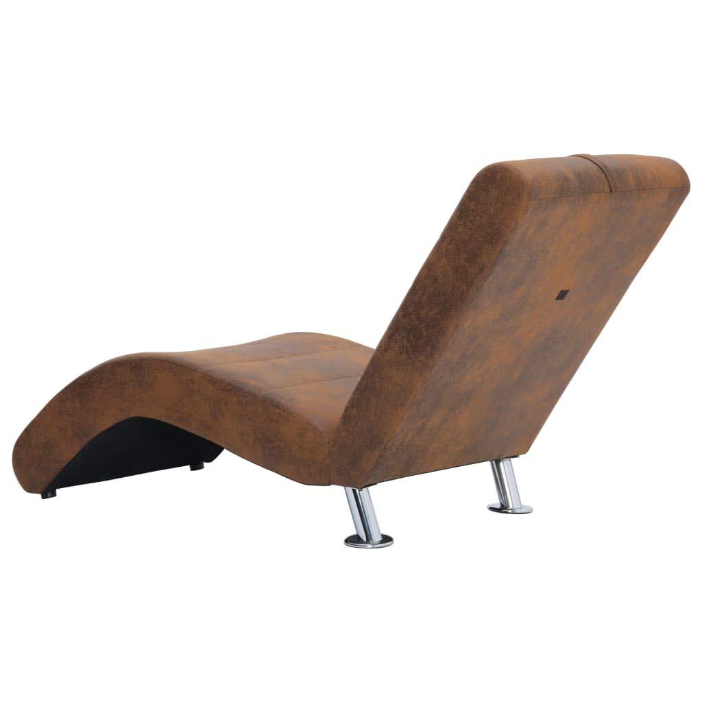 vidaXL Chaiselongue con Cuscino Marrone Effetto Pelle Scamosciata Poltrona Lounge Comodo Sedia a Sdraio Relax Sedia a Sdraio