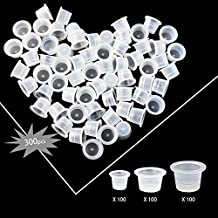 Wormhole Tattoo Ink Caps for Tattooing Mixed Tattoo Ink Cups Disposable Pigment Cups 300pcs #9 Small #13 Medium #16 Large