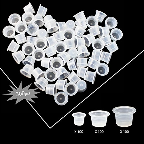 Wormhole Tattoo Ink Caps Cups 300 pcs, Mixed Sizes #9 Small #13 Medium #16 Large