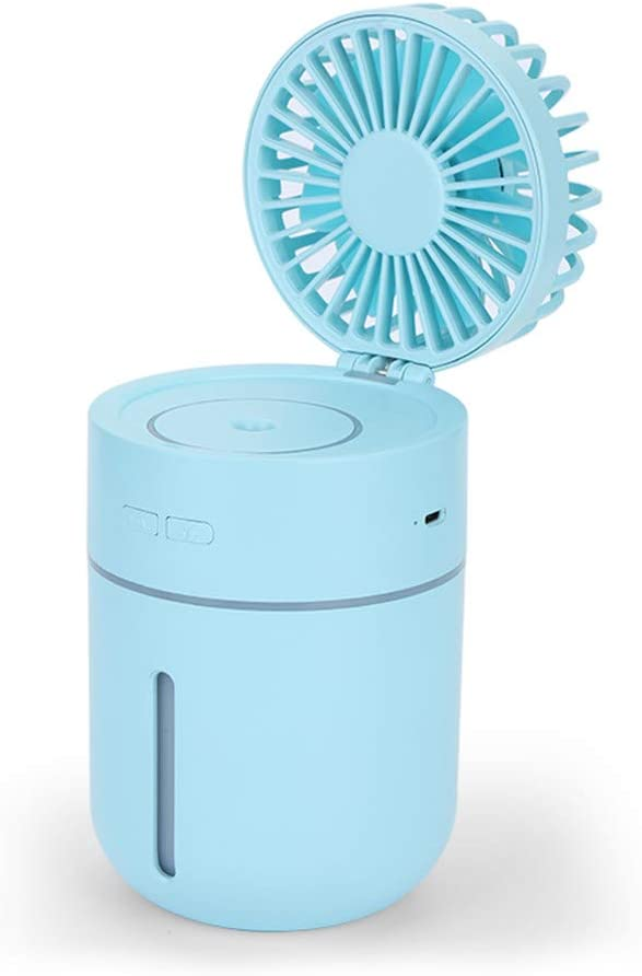 Huainiu Ventilador Flexible USB Recargable, Ventilador con Agua Pulverizada, Ventilador LED Humidificador Externo Portatil, Ventilador Helicoidal Oficina Mesa Silencioso (Azul): Amazon.es: Hogar