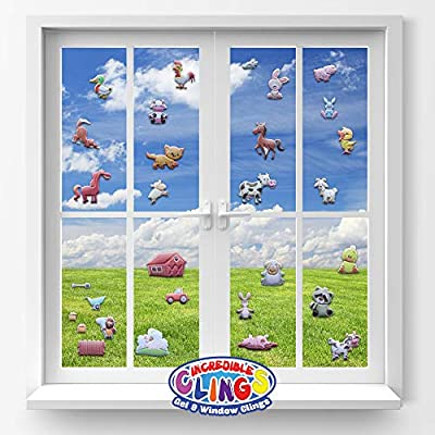 JesPlay Farm Animals (by Incredible Gel and Window Clings) Reusable Puffy Sticker Glass Window Clings for Kids - Home, Airplane, Classroom, Nursery - Horses, Ducks, Chickens, Cat, Bunny, Pig and More: Toys & Games