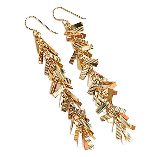 Gold Textured Bar Fringe Cluster Tassel Earrings ()