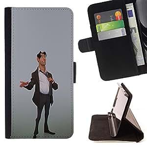 BullDog Case - FOR/Apple Iphone 5C / - / STOCK BROKER MAN SUIT STYLISH 3D ART OFFICE /- Monedero de cuero de la PU Llevar cubierta de la caja con el ID Credit Card Slots Flip funda de cuer