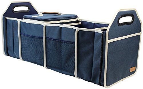 INNO STAGE Collapsible Car Trunk Organizer|Premium Cargo Storage Container|Heavy Duty Storage Bin Carrier|Drive Auto Products for SUV,Minivan,Van,Vehicle Waterproof Cooler Bag-4 Partitions