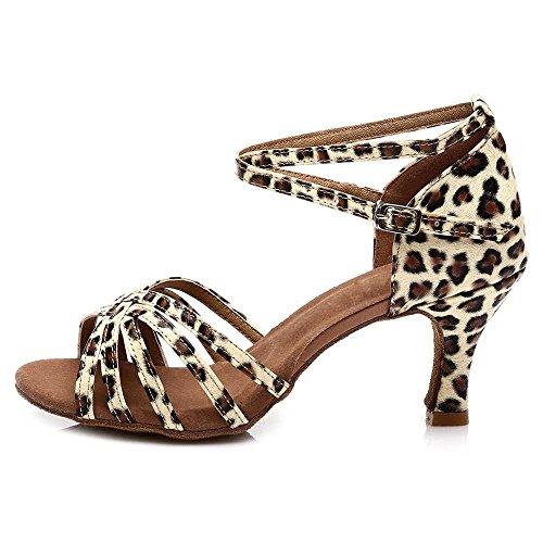 YFF Women's Tango Ballroom Latin Dance Shoes heeled ,7cm heels Leopard,4.5