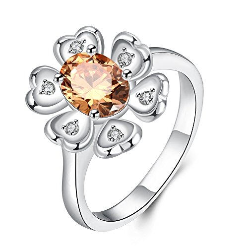 Rental Ethnic Costume (Romantic Fate Heart Shape Six Petals Flower Champagne Crystal Zircon Silver Plated Luxury Ring)