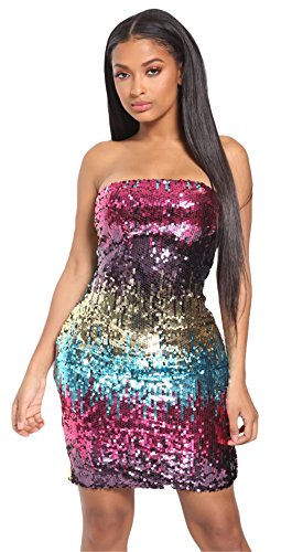 Off Package Bodycon Nightclub Womens Dress Sexy Sequins Hip Red Gradient Wrapped Shoulder Didala Chest wZzIfq