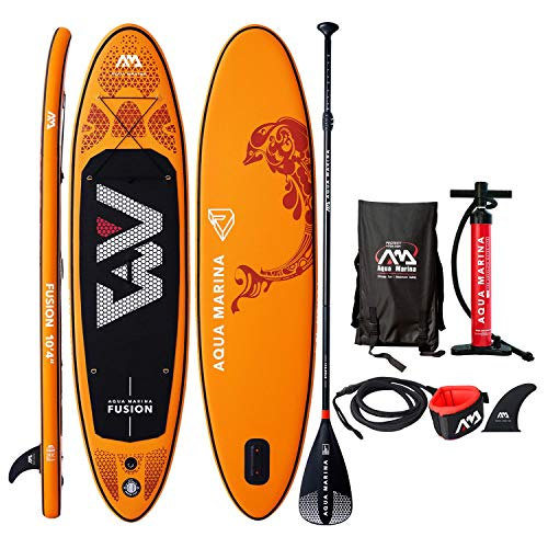 """Aqua Marina Fusion Inflatable Stand Up Paddle Board 2019 Upgraded iSUP 10'4"""" (6"""" Thick) with Double Action Pump, Magic Backpack, Slide-in Center Fin, Sports III Paddle, Safety Leash"""