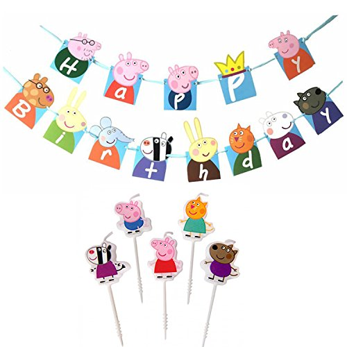 Easonove Birthday Banner Peppa Pig Theme Birthday Decoration Flag with Set -