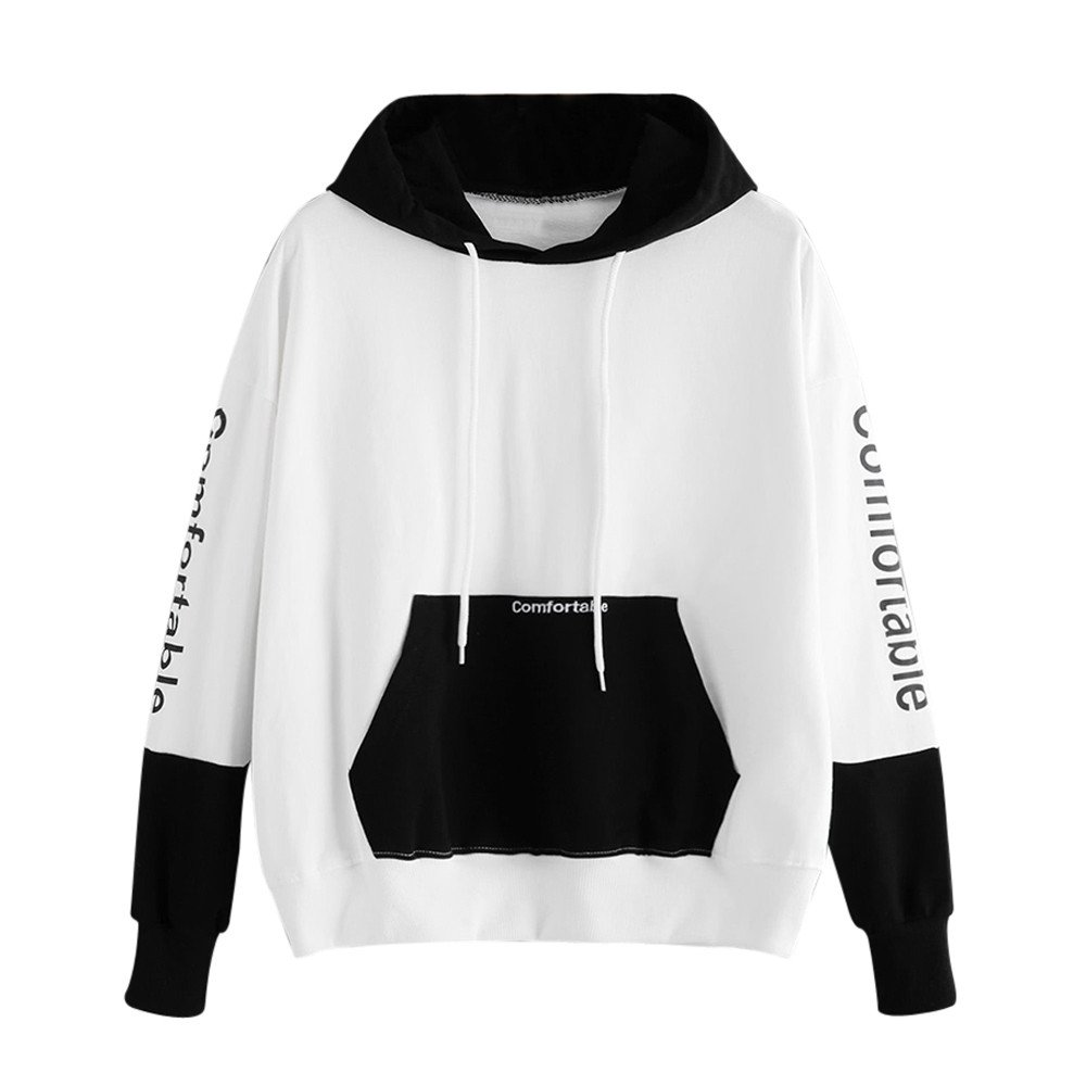 Kaitobe Womens Plus Size Long Sleeve Hoodie Sweatshirts Letter Print Patchwork Pocket Loose Hooded Pullover Tops Blouse