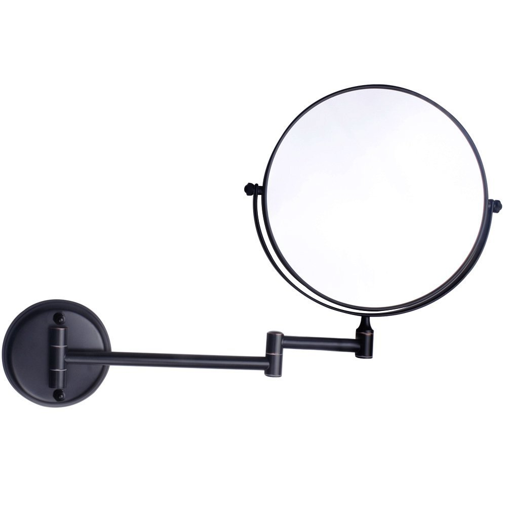 8Inch Two-Sided Swivel Wall Mounted Makeup Mirror Vanity Mirror Magnification Cosmetic Mirror Magnifiers Black 5X Magnification
