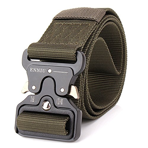 Rumfo Men's Heavy Duty US Soldier Combat Tactical Belt, Quick-Release Military Style Shooters Nylon Belts with Metal Buckle (Army green)