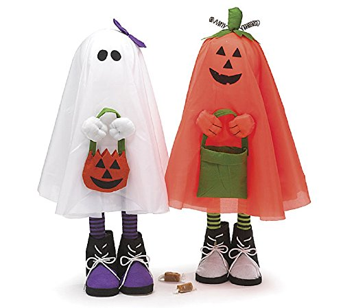 Set of 2 Tall 26 Whimsical Halloween Ghost and Pumpkin Ghost Figurines Adorable Halloween Decoration