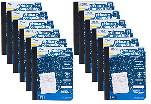 Mead Composition Book, Primary, Grades K-2, 100 Wide-Ruled Sheets, 9.75 x 7.5 Inch Page Size, 12 Pack