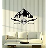 Large Vinyl Wall Decal Mountains Compass Camping Forest Camp Decor Art Stickers Mural 651