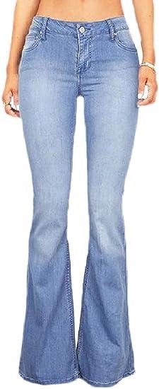 Fly Year-JP 女性ウォッシュワイドレッグスキニーセクシージーンズパンツ