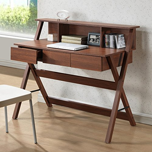 Orlando Contemporary Style Rectangular Writing Desk with 3 Drawers Made of Engineered Wood in Dark Brown Finish 37.6'' H x 43.2'' W x 22'' D in. by ZipcodeTM Design