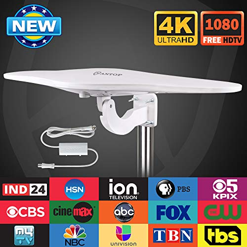 Outdoor/RV HDTV Antenna - ANTOP Omni-Directional Wing TV Antenna with Smartpass Amplifier &Noise-Free 4G Filter and VHF/UHF Range Enhanced for 70 Miles Reception,Suitable for Outdoor/RV/Attic Use (33