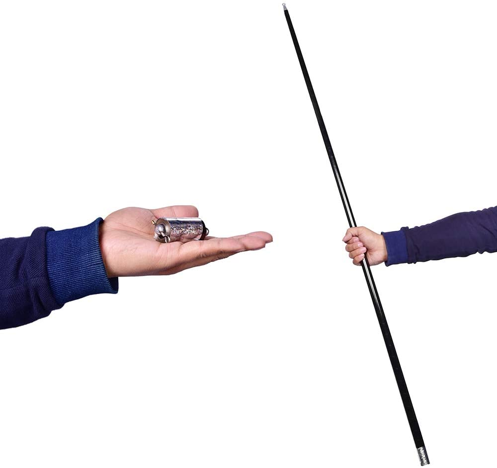 43-1//4//110cm Metal Appearing Cane with Video Tutorial Link Magic Wands for Professional Magicians Stage Close-up Magic Trick Pocket Staff Magic Accessories Props Silver