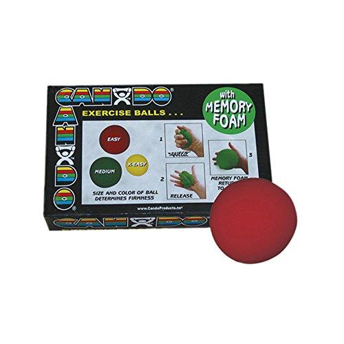 CanDo Memory Foam Ball 2.5 Inch, Red, Easy
