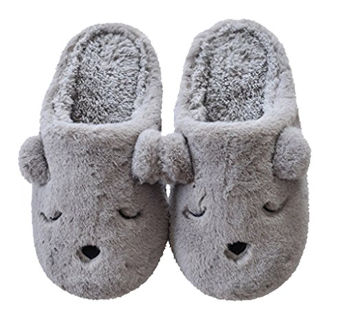 Cattior Hombres Fleece Winter Warm Dog Slippers Zapatillas De Dormitorio Gris