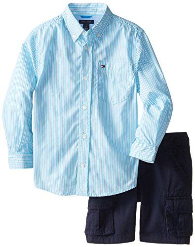 Tommy Hilfiger Little Boys' Standford Long Sleeve Poplin Stripe Shirt with Twill Cargo Short, Serenity Blue, 05 Regular