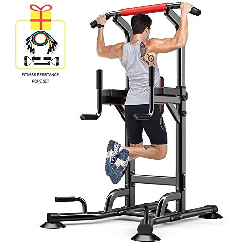 YI'HUI Power Tower Pull Up Bar Dip Stand, Dip Station Home Gym Fitness Equipment Force Training Workout Rack (como…