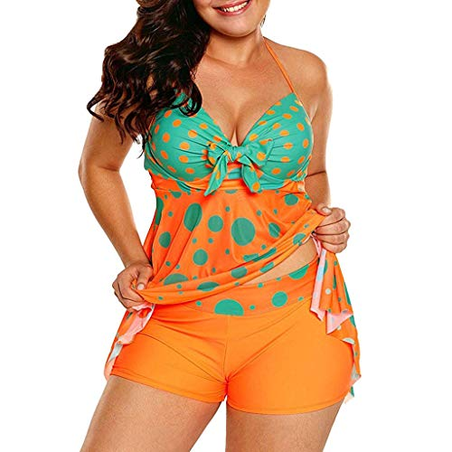 Back Set Warriors Patch - iNoDoZ Women's Sexy Halter Patchwork Dot Open Back Tankini Top Set Two Piece Swimsuits Orange