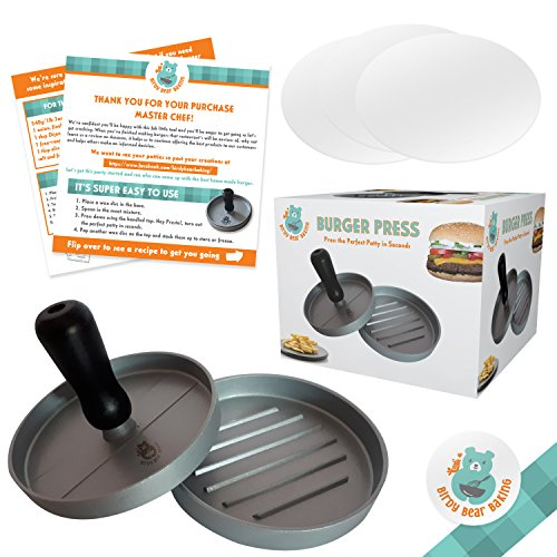 Burger Press for Perfect Hamburger Patties Inc 30 Wax Paper Discs Non-Stick Aluminium Mould Create Best Burgers for Your Grill Oven or BBQ Easy To Clean Dishwasher Safe Eat Restaurant Style Meat Patty