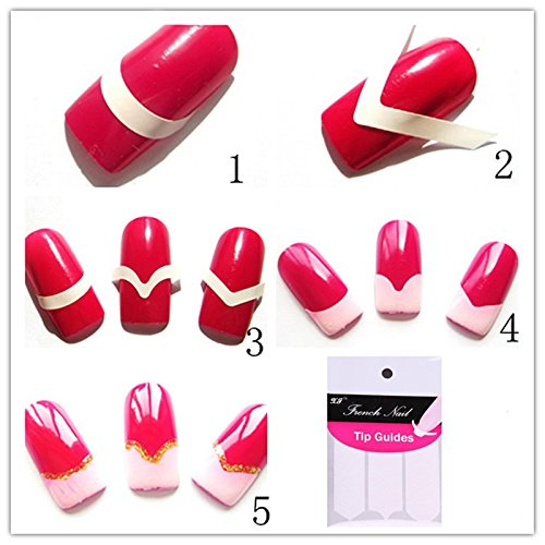 Texay(TM) 1 lot=10 packs Chic DIY 3 Styles French Manicure Nail Art Tips Tape Sticker Guide Stencil