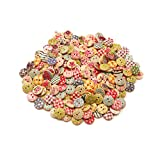 mixed pleat dress - SuZhi 200pcs 15MM Mixed Wooden Round Colorful Painting Buttons (Multi)