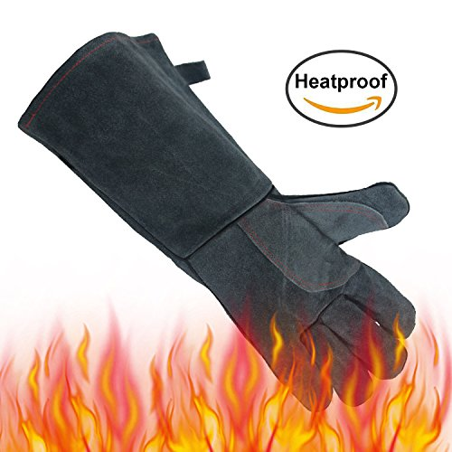 Ozero Welding Gloves  Genuine Leather Extreme Heat Resistant Glove For Mig Tig Welder Fireplace Wood Stove Metal Cutting   Flame Resistant   Insulated Cotton Lining   16 Inches Long Sleeve   Gray
