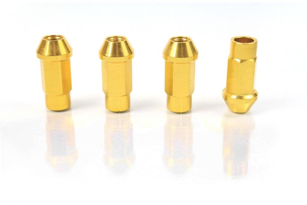 Gold - Anodized Aluminum - 50mm Racing Wheel Open End LUG NUT for HUMMER 06-Present H3, H3X, H3 ALPHA BASE LUXURY