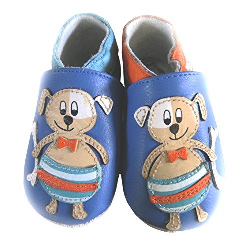 Lait et Miel - Patucos de piel para bebé con diferentes diseños azul Eichhörnchen Talla:6-12 meses marrón