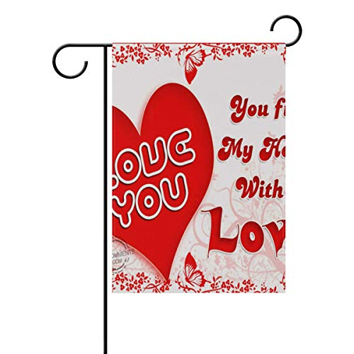 Pingshoes Valentine's Day Special Invitation Garden Flag Banner Long Polyester Decorative Flag for Wedding Anniversary Home Outdoor Garden Decor Season Porch Lawn 12