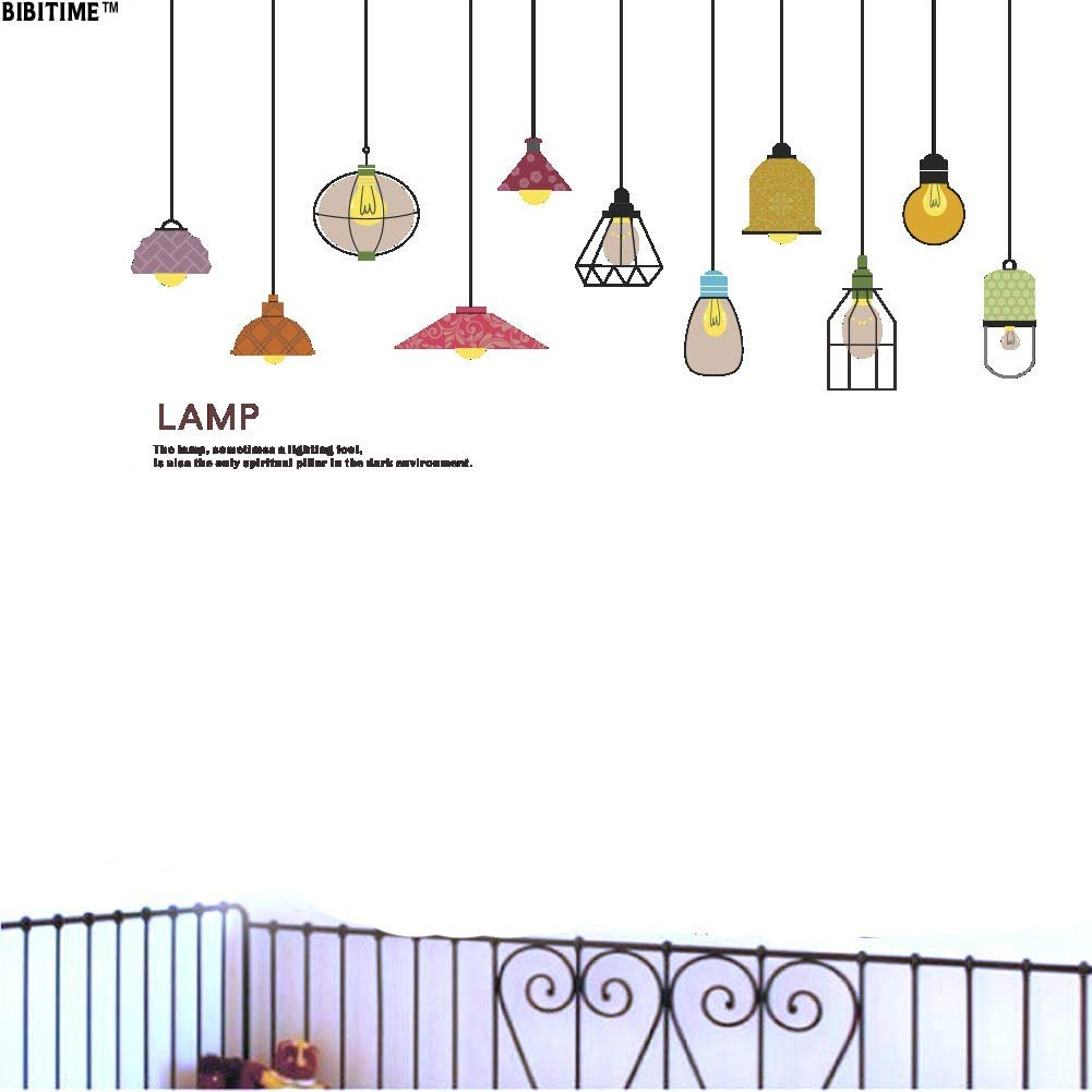 Bibitime beautiful lamps wall decal hanging lamp quotes vinyl sticker living room porch baby infants toddlers nursery bedroom children kids room decor home