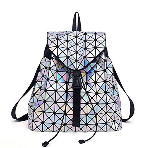 Las mujeres Mochila femenino Plaid geométrica Sequin hembra Mochilas para niñas adolescentes Drawstring Bag Mochila holográfico plateado láser Laser Silver