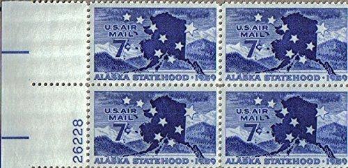 No. C53, 1959 7c Alaska Statehood Postage Stamps Plate Block (4 -