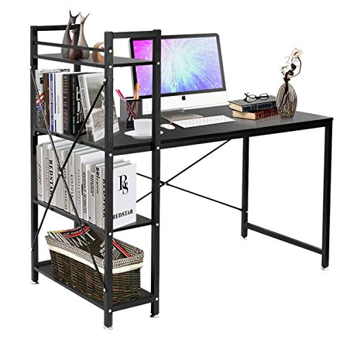 - 4 Tier Storage Shelves Computer Desk (Black)
