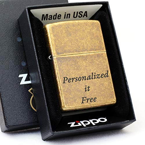 Free Engraving - Personalized Groomsman Zippo Lighter Windproof Perfect for Boyfriend, Anniversary - Three Lines, Each 20 Characters, Free Customization (Antique Brass)