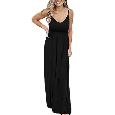 51c7efc873fa5 Clemunn Womens Sexy Camisole Dresses, Ladies Sleeveless Strappy Italian  Drape Baggy Long Maxi Dress Casual