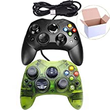 Mekela Classic Wired Controller Gamepad for Xbox S-Type (Black and ClearGreen)